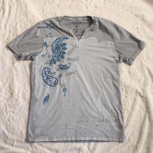 Men's Guess Silver V-neck  Shirt